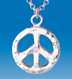 sterling silver peace pendant with diamond- LARGE