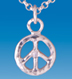 sterling silver peace pendant with diamond- SMALL