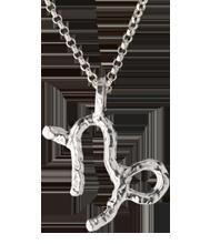 capricorn zodiac pendant, sterling silver on sterling silver chain