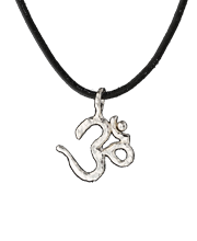 om pendant, sterling silver on black rawhide