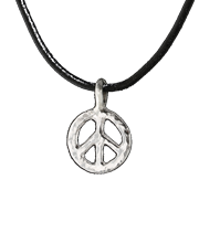 small peace sign pendant, sterling silver on tan rawhide