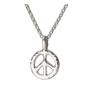 small peace sign pendant in sterling silver