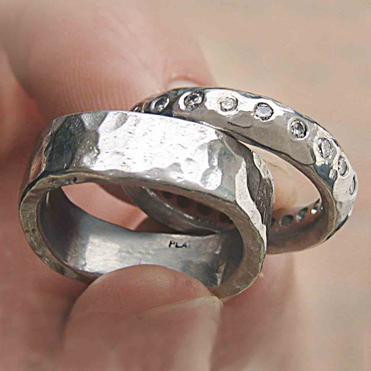 hand forged platinum wedding rings