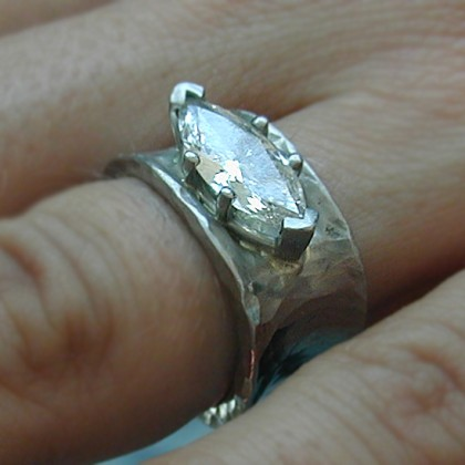 platinum ring with marquis diamond