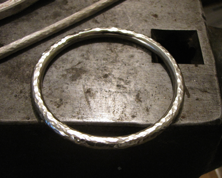 handforged sterling silver bangles in the studio