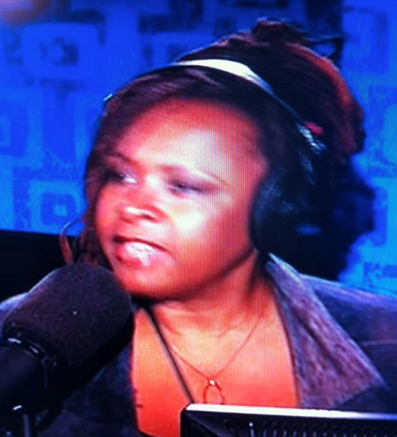 Robin Quivers wearing my wishbone necklace on the Howard Stern show