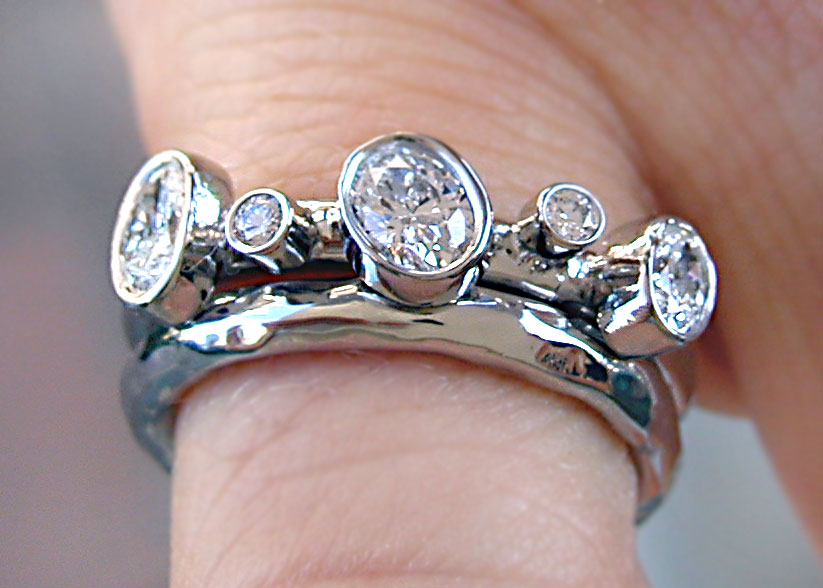 diamond and platinum engagement/wedding ring set