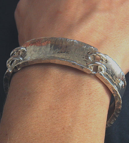 hand forged sterling silver bar bracelet