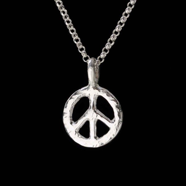 peace sign charm pendant in sterling silver