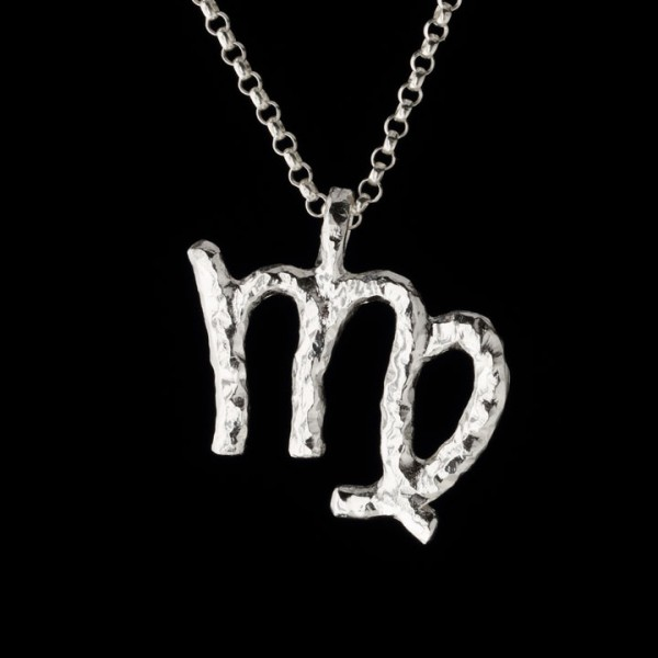 virgo zodiac pendant in sterling silver