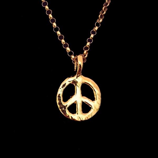 gold peace sign charm pendant