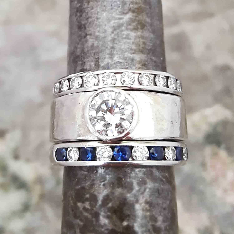 platinum diamond & sapphire rings